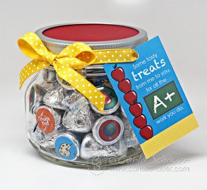 Teacher Appreciation Candy Gift Jar, using free printables from Carla Schauer Designs at carlaschauer.com.