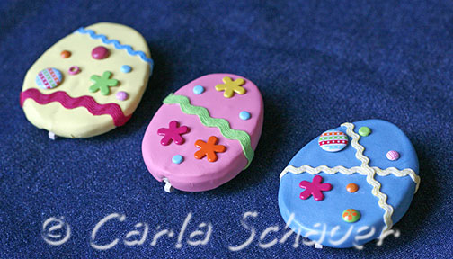 egg shaped magnet clips made from polymer clay