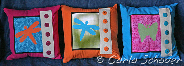 butterfly and dragonfly handmade pillows