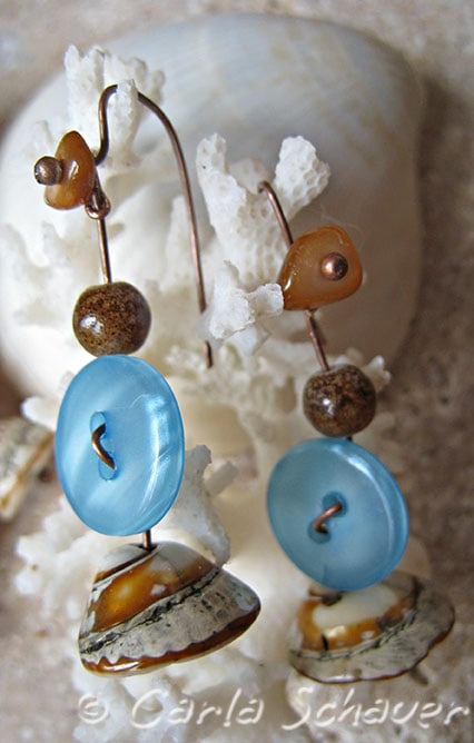 Beachy button earrings from Carla Schauer Designs