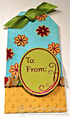 Gift tag using Clearsnap Design Adhesives by Carla Schauer