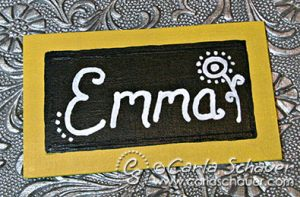 Acrylic painted birthday tag by Carla Schauer