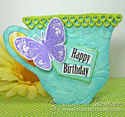 Die Cut teacup gift tag by Carla Schauer