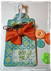 Mixed Media Dragonfly tag by Carla Schauer