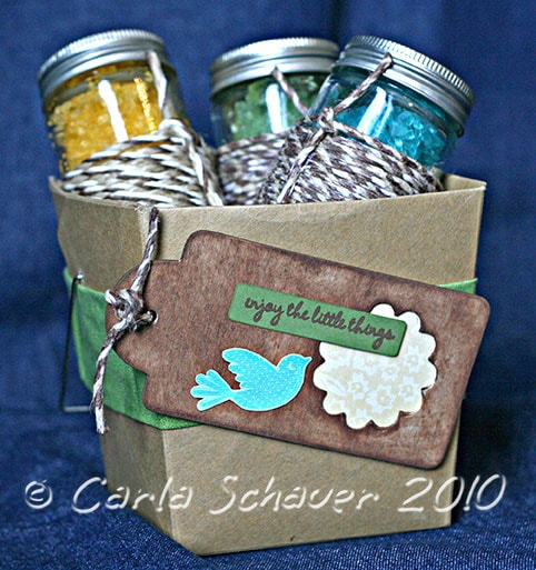 Homemade bath salt gift basket by Carla Schauer
