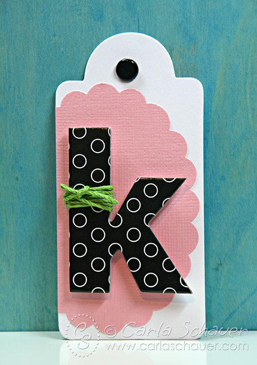 Monogrammed gift tag by Carla Schauer