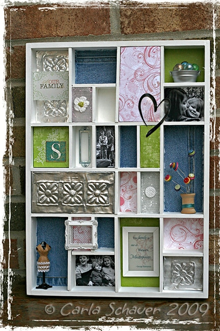 upcycled shadowbox home decor by Carla Schauer