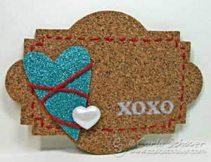 Stitched cork gift tag by Carla Schauer