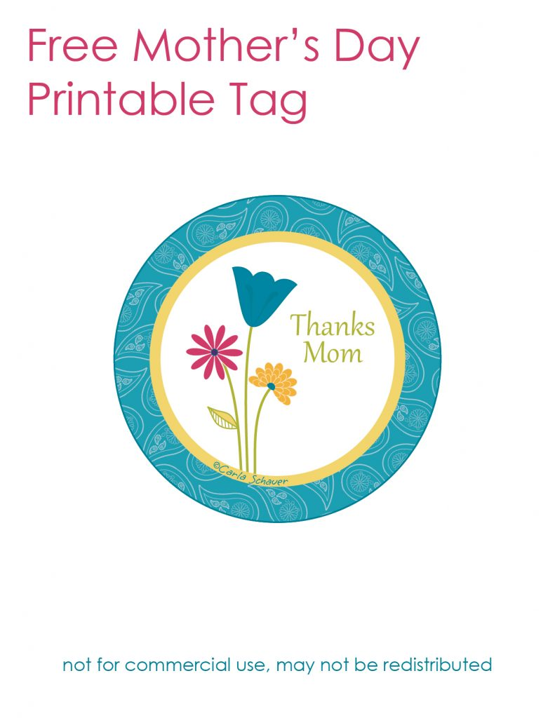Free printable Mother's Day tag from Carla Schauer Designs