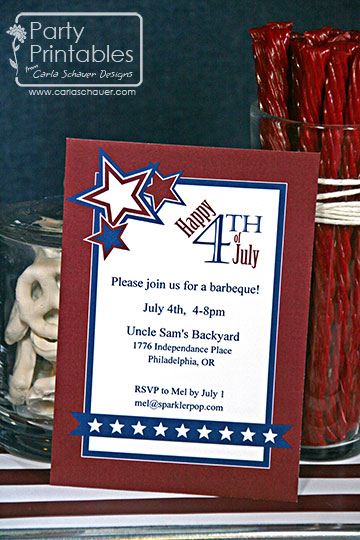 July 4th printable party invitation
