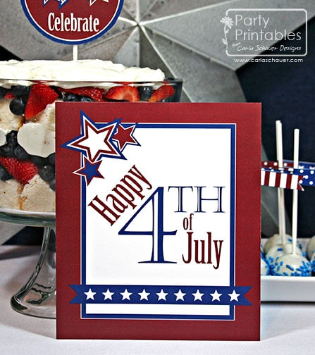 July 4th printable party sign