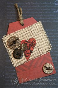 Button and Burlap tag by Carla Schauer