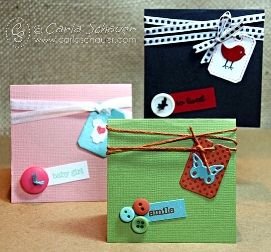 My Favorite Things Bread tag die cuts and buttons cards