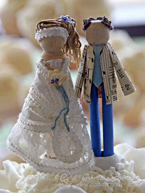Handmade bride and groom doll cake toppers