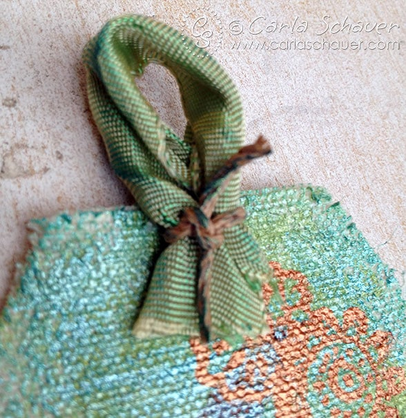 Sari silk ribbon used as tag tie