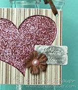 glitter filled chipboard heart tag