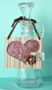 Glittered heart gift tag