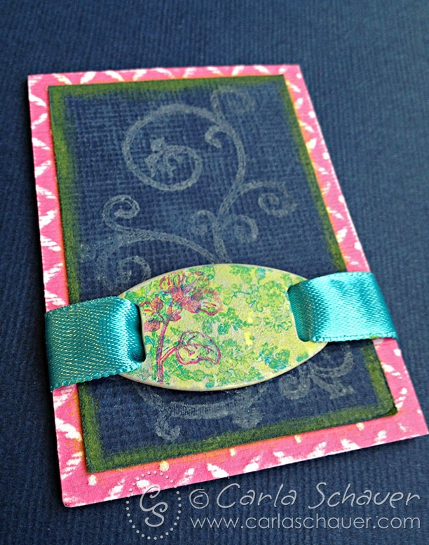 Layered stamped ribbon slide on tag