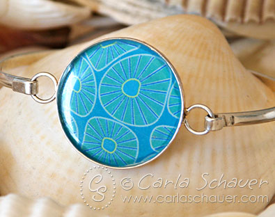 Silver and Resin Bangle Bracelet with art from Carla Schauer Designs