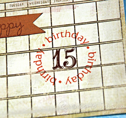 Adding date to birthday calendar tag by Carla Schauer Designs
