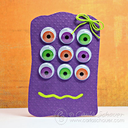 Cute Monster Halloween Gift Tag from Carla Schauer Designs