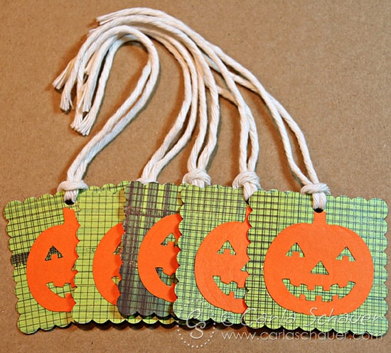 Halloween goodie bag tags using craft punches by Carla Schauer Designs