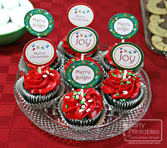 Christmas Lights Party Kit Printable Cupcake Toppers-Carla Schauer Designs