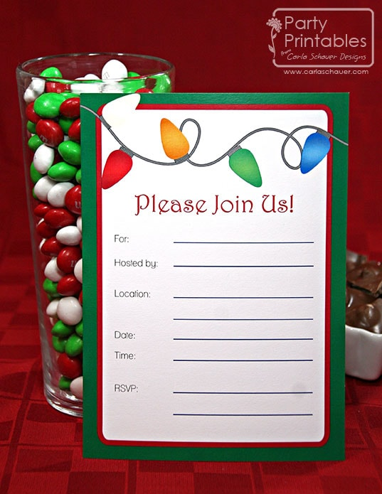 Christmas Printable Invitation from Christmas Lights Printable Party Kit-Carla Schauer Designs
