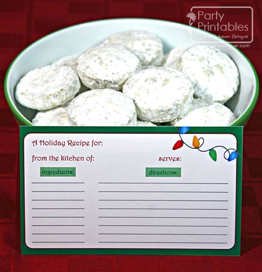 Printable Recipe Cards from Christmas Lights Printable Party Kit by Carla Schauer Designs