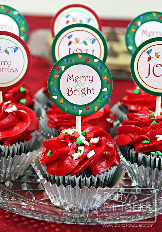 Christmas Printable Cupcake Toppers from Christmas Lights Printable Party Kit