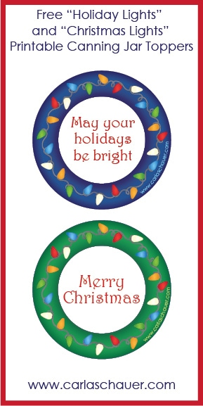 Free Printable Holiday Lights Canning Jar Labels from Carla Schauer Designs