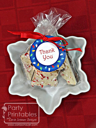 Holiday Printable Thank You Tags from Holiday Lights Printable Party Kit-Carla Schauer Designs