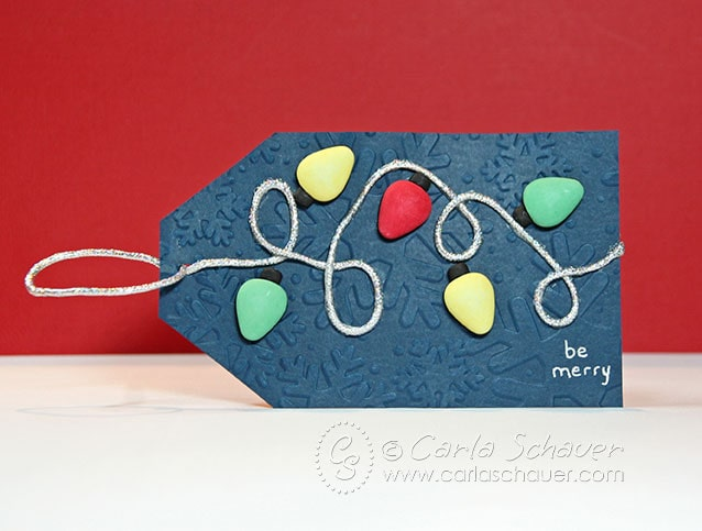 Holiday Lights Gift Tag made with themed buttons, by Carla Schauer
