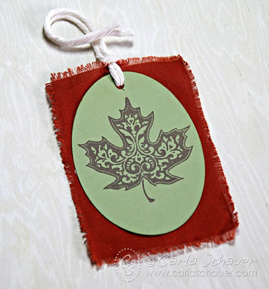 Stamped Leaf Gift Tag with Fabric Backing from Carla Schauer Designs