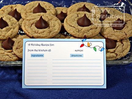 Printable Holiday Recipe Card from Holiday Lights Party Kit-Carla Schauer Designs