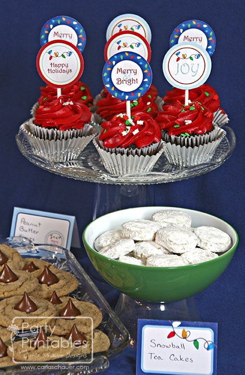 Holiday Lights Printable Party Kit on Cookie Display-Carla Schauer Designs