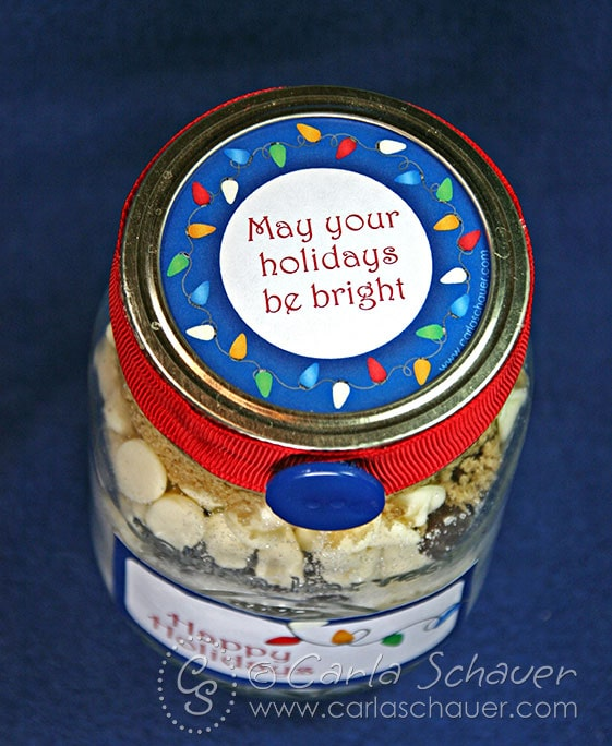 Layered jar cookie mix with free printable holiday canning label from carla schauer designs