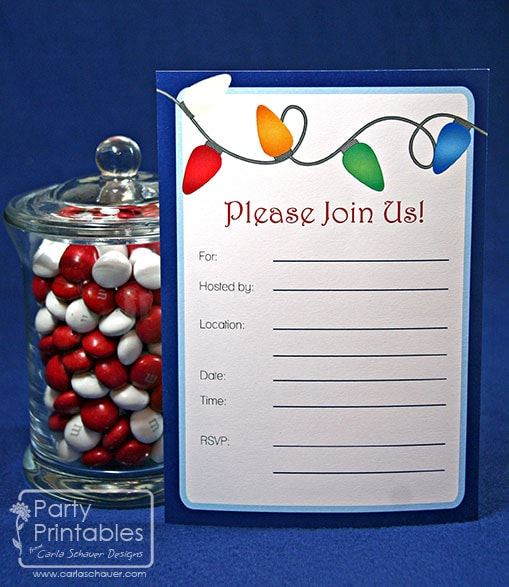 Printable Holiday Party Invitation from Holiday Lights Printable Party Kit-Carla Schauer Designs