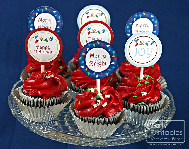 Printable Cupcake Toppers from Holiday Lights Party Kit-Carla Schauer Designs