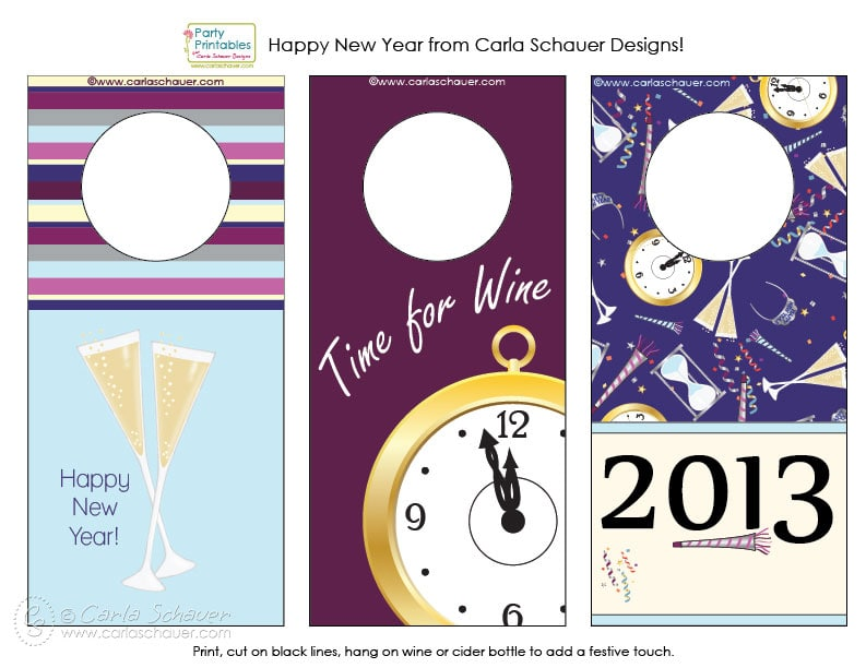 Free printable New Year's Eve wine bottle tags from Carla Schauer Designs