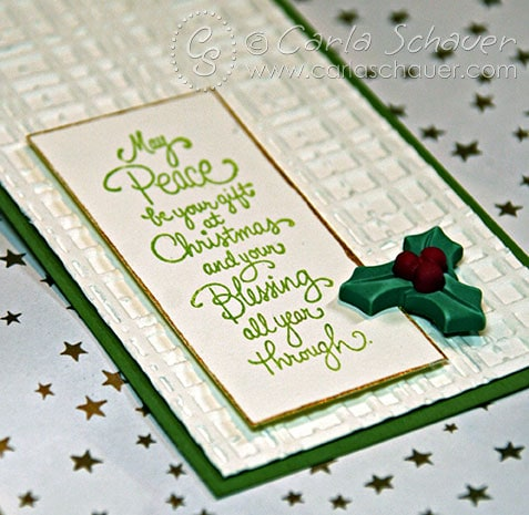 Stamped Christmas sentiment on handmade gift tag by Carla Schauer Designs