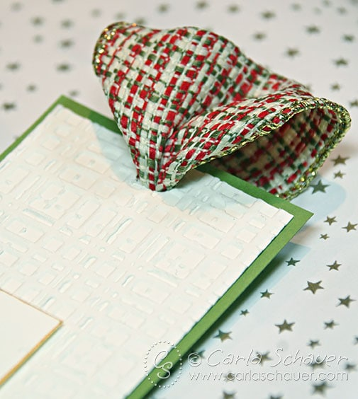 Handmade Christmas gift tag with woven ribbon by Carla Schauer Designs