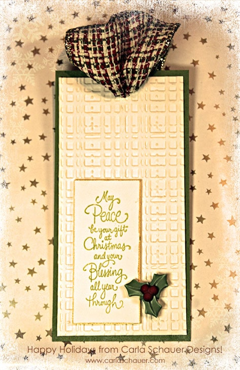 Embossed Merry Christmas handmade gift tag from Carla Schauer Designs