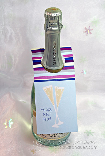 Free printable New Years Eve wine bottle hang tag from Carla Schauer Designs