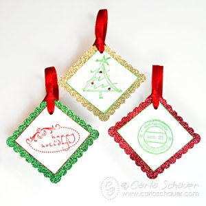 Glittered and Stamped Christmas Gift Tags–Tag Tuesday