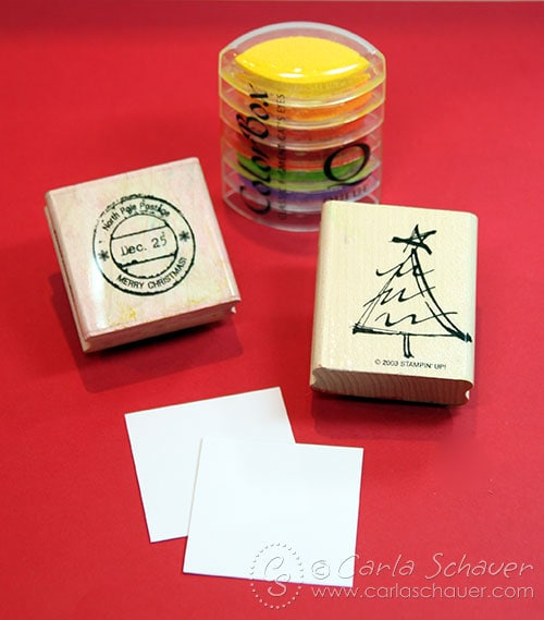 Stamping Designs on Christmas Gift Tags by Carla Schauer Designs