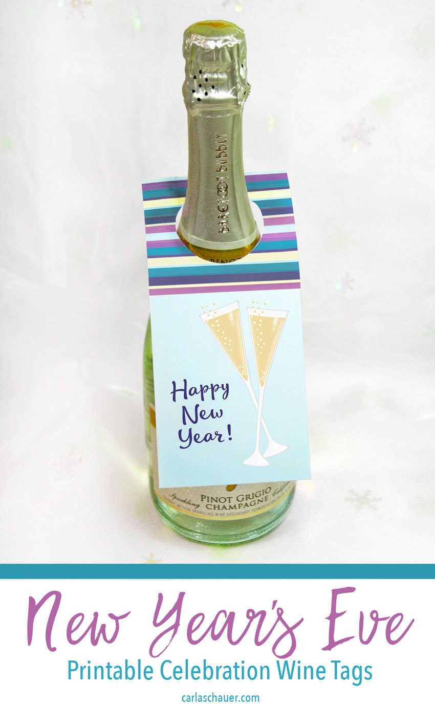 Printable New Year's wine tag on champaigne bottle with white background