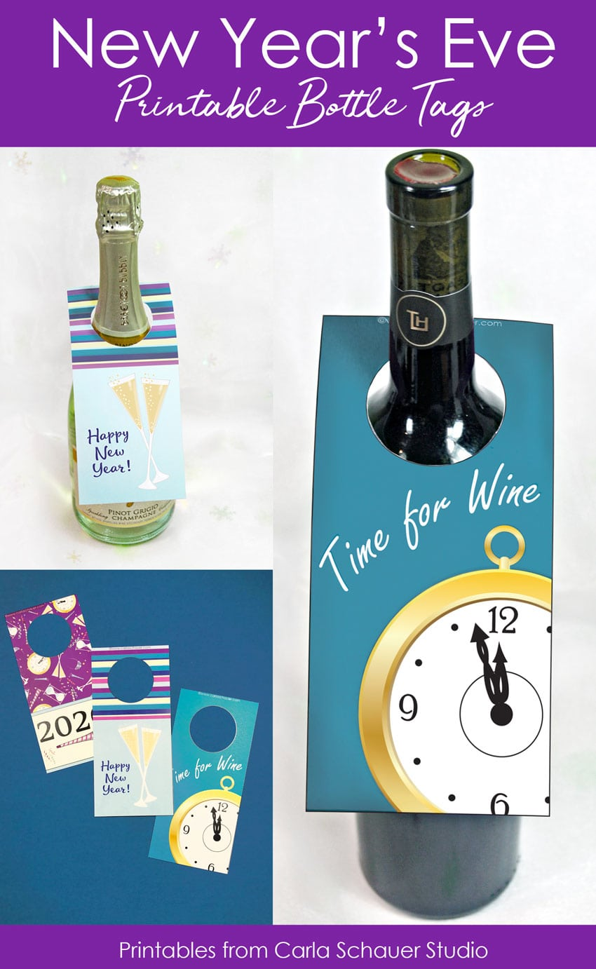collage of new year's eve bottle tag photos with text for pinterest.
