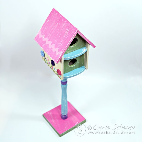 Spring floral painted birdhouse with buttons from Carla Schauer Designs