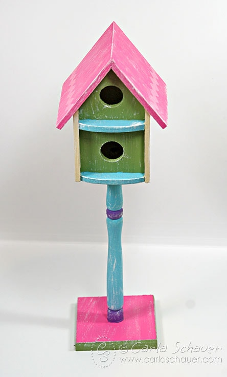 Acrylic painted spring birdhouse from Carla Schauer Designs
